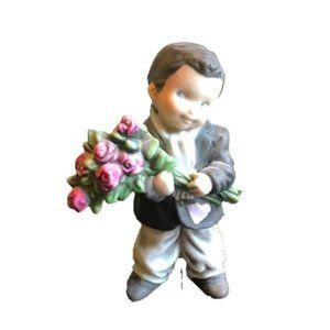 Vintage Enesco Boy with roses Figurine